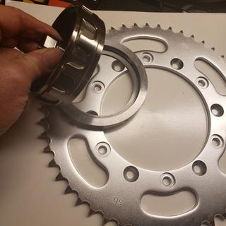 Added a 50 tooth sprocket as well, that metal ring is the weight you glue on.