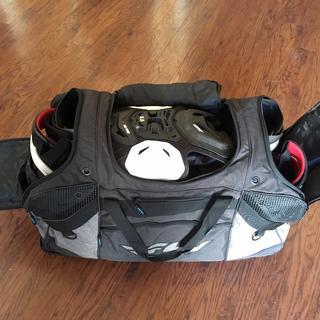 bag filled, no helmet or goggles.