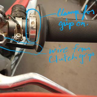 Front brake side showing wire location, and gripped the locking ring.