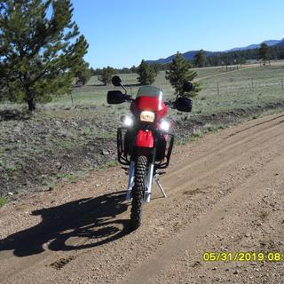 Thumper Jockeys on and headlight on KLR set on Hi-beam.  Time stamp on photo is actual and correct.