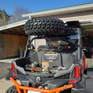 Easy to install fit nice in back roolbar of Can-Am with clearance  under Tusk roof