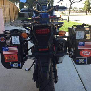 2017 Africa Twin small boxes and both racks