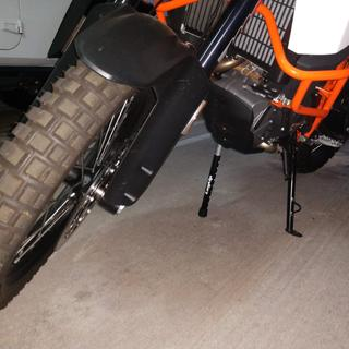KTM 1090R front wheel suspended.