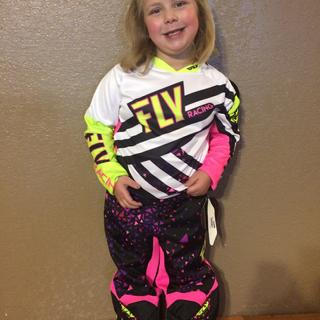 She's ready to race with her new fly gear!
