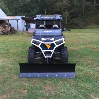 Item 1: Snow Plows Plow Specifications: Easy hook-up and fast removal without having to go under your ATV Fits on most ATV & UTV Electric winch lift system.