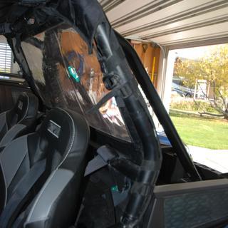 Tusk UTV Rear Window 2018 Polaris RZR Turbo Dynamix Straps around cage tubing. Fits really nice.