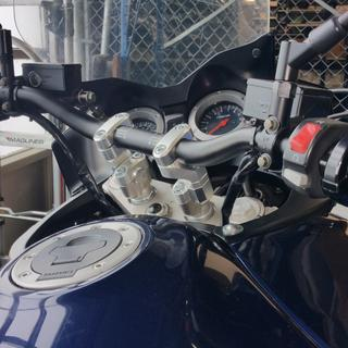 Chub bars on 02 Suzuki VStrom 1000 with SW Motech Vario Barback Converters 50mm plus 10mm extensions