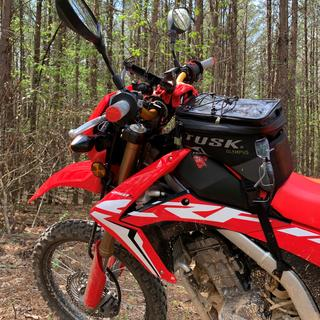 Tusk LARGE tank bag on my CRF250L. Great features.  Very durable product!