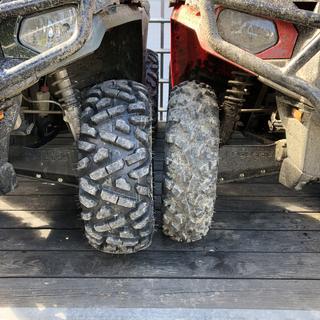 TriloBite 8 ply 26x9x12 tire vs stock 25x8x12