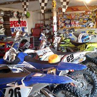 Race shop. Check out the race numbers on the wall.