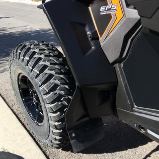 "Wide fenders and mud flaps a must with a 3.5""/3.5"" wheel offset and these tires!"