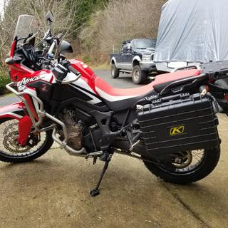 Tusk Billet Side Stand Foot and Tusk pannier racks on 2017 Africa Twin