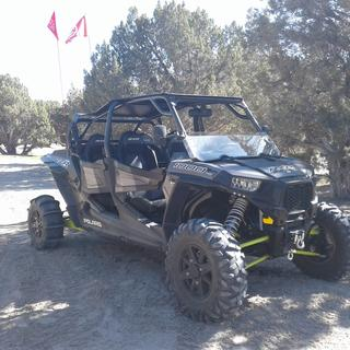 Tusk flag mount on my 2016 RZR 4 1000 with stock cage chop