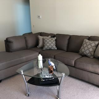 It looks good with my carpet and it's very comfortable. I love my new sectional