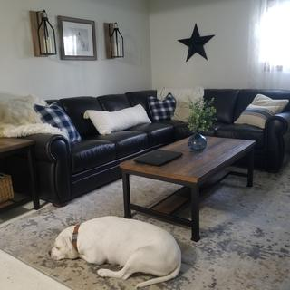 We all love our new sectional sofa!! It's perfect for our family room!