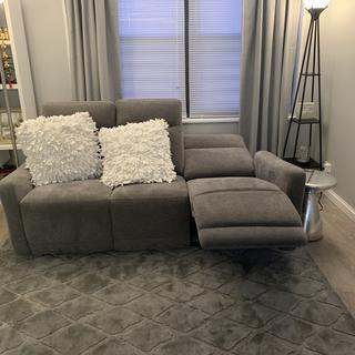 This couch is really comfortable and fits a small space! You can recline flat or just half way.