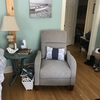 My comfy recliner in my bedroom.