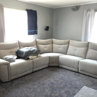 The sectional is nice and firm and  the powered recliners work nicely. A nice silvery grey color