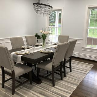 I stage homes and used this set in the dining room.  It is gorgeous!