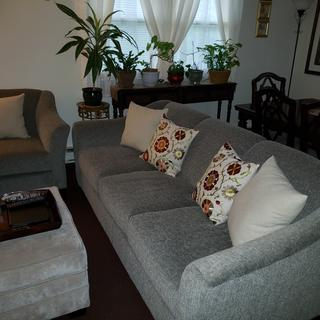 LOVE my sofa and chair...perfect color and very comfortable! Wasnt a fan of the pillow cover print.