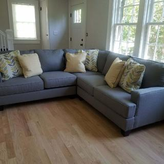 Beautiful couch! Love the material and fits perfectly into our smaller space.