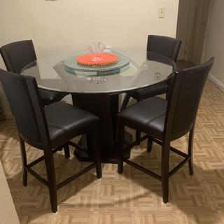 This dining set is beautiful. I love the height of the table and the chairs are very sturdy. ????