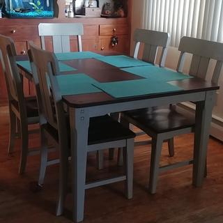 I love this dinning set. Very giod quality. Came fast. Set up was fast, service was great
