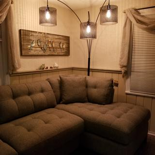 This is the couch with my new lamp which i also love!!