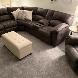 Fills up the room without overwhelming. The color is rich, the fabric is durable and easy to clean.
