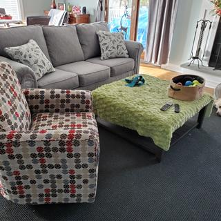 Love our new sofa ..very comfortable..goes great with new  chair we also purchased