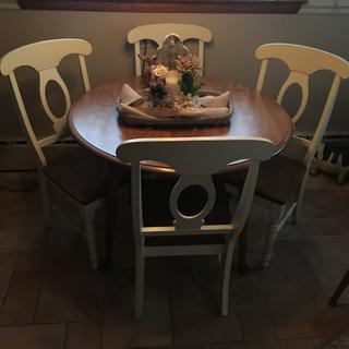 Love this set of chairs!  Goes great with my existing kitchen table. Wonderful!!