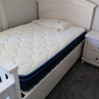 Kylie Full Platform Bed W 1 Sd Storage Cream Raymour