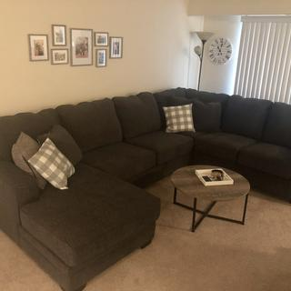 We love this couch! It fits our space perfectly and it's so comfy to relax on.