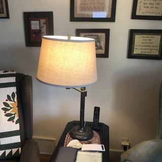 Nice lamp for living room.   Perfect for hand work and reading.   Nice to have the three way bulb.