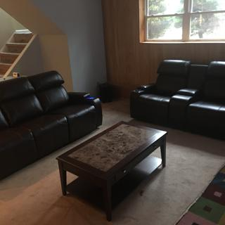 Loveseat, sofa, and coffee table all from Raymour and Flannigan