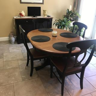 I love my new dining set.  Totally changed the look of room.  Very happy. Thank you Alex Brown.