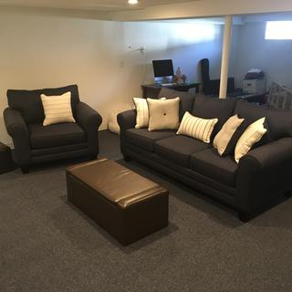 Making my basement beautiful...fabric is very nice, thick/durable quality that with comfortable sit.
