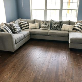 Love this couch! Extremely comfy and plenty of room. A must buy!