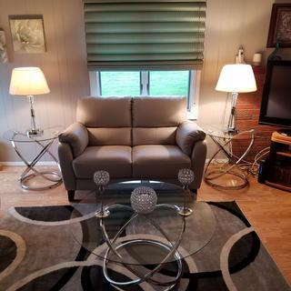 Here is the Harmony love seat and lamps with tables