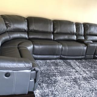 Dowling 6 Pc Sectional Sofa W 3 Power Recliners Gray