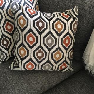 Modern geometric accent pillows.