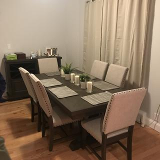 Loving our new Halloway dining room set - classy and modern