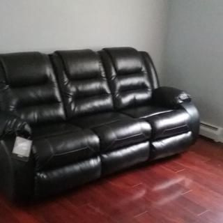 Aldric Reclining Sofa Black Raymour Amp Flanigan
