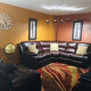 Thanks TIM for showing me this beautiful rich cognac leather sectional and recliner.