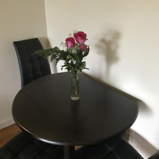 The table with my Mother's Day flowers.