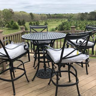 We love our bar height patio set