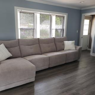 Beautiful, modern looking couch. Comfortable, firm & nice fabric! Very content with this purchase.