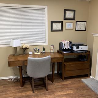 Desk, file cabinet & chair