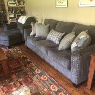 Lovin' the new sofa, loveseat, chair and ottoman!!