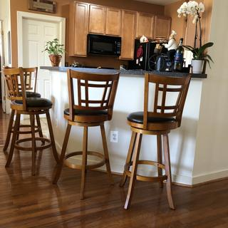 Love these bar height stools. Very comfortable as well.